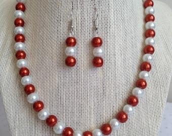 Burnt Orange Necklace, Pearl Necklace, Bridesmaid Jewelry, Burnt Orange Wedding, Bridesmaid Gift, Pearl Earrings, Burnt Orange Jewelry