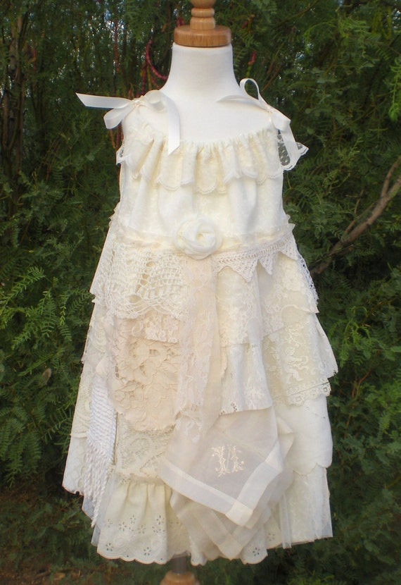 Lace Flower Girl Dress Vintage Country Shabby Chic Flower