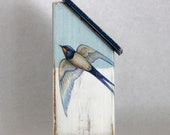 Wood Beach Cottage with Swallow, Lt Blue, Navy & White