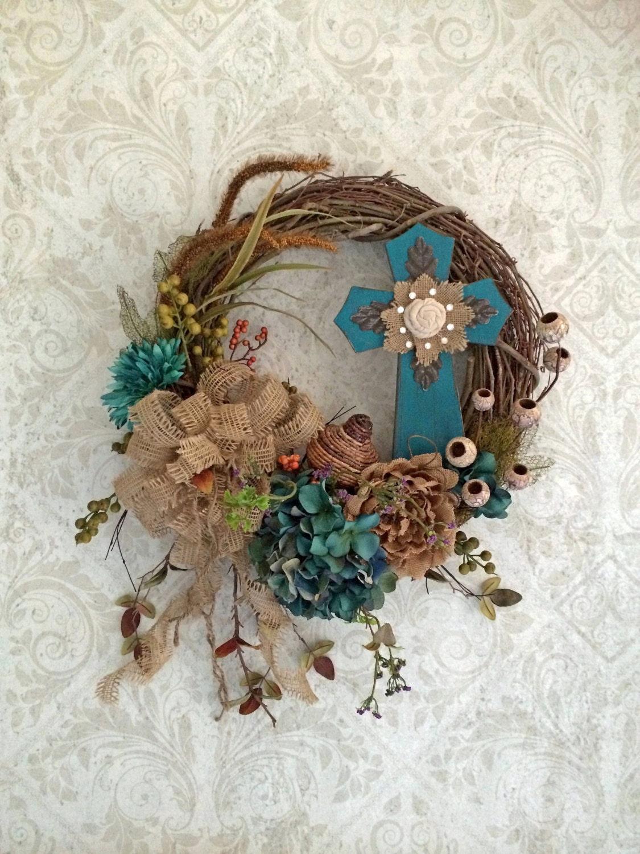Jewel Cross Wreath Easter Wreath Front Door Wreath Silk