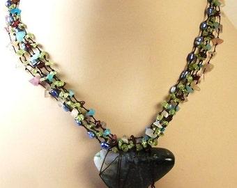 Anothai Primitive Multi-Strand Tribal Necklace: Precious Stones and Gems