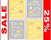 SALE you are my sunshine print yellow gray elephant, baby shower gift, children art print, sunshine baby quotes, nursery print, kids quote