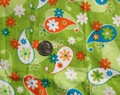 Neon Green Paisley Quilting Cotton