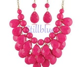 Fuschia Bubble Bib Necklace, Charm Necklace, Statement Necklace, Cheap Necklace with Earring