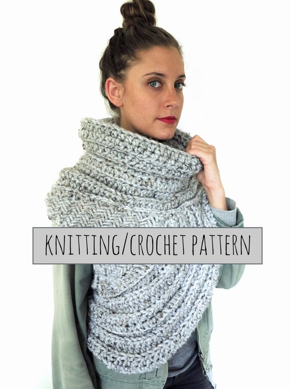 PATTERN for Chunky Knit Crochet Asymmetrical Cowl Vest Shawl Scarf One Armed // Huntress Vest PATTERN