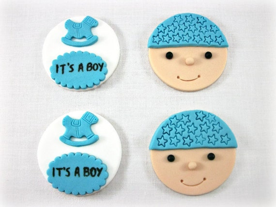 baby boy shower fondant cupcake cake toppers baby boy face and