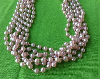 Vintage Pink Bead Necklace (Item 637M)