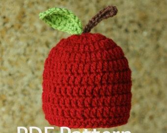 PDF Crochet Newborn Apple Hat Pattern