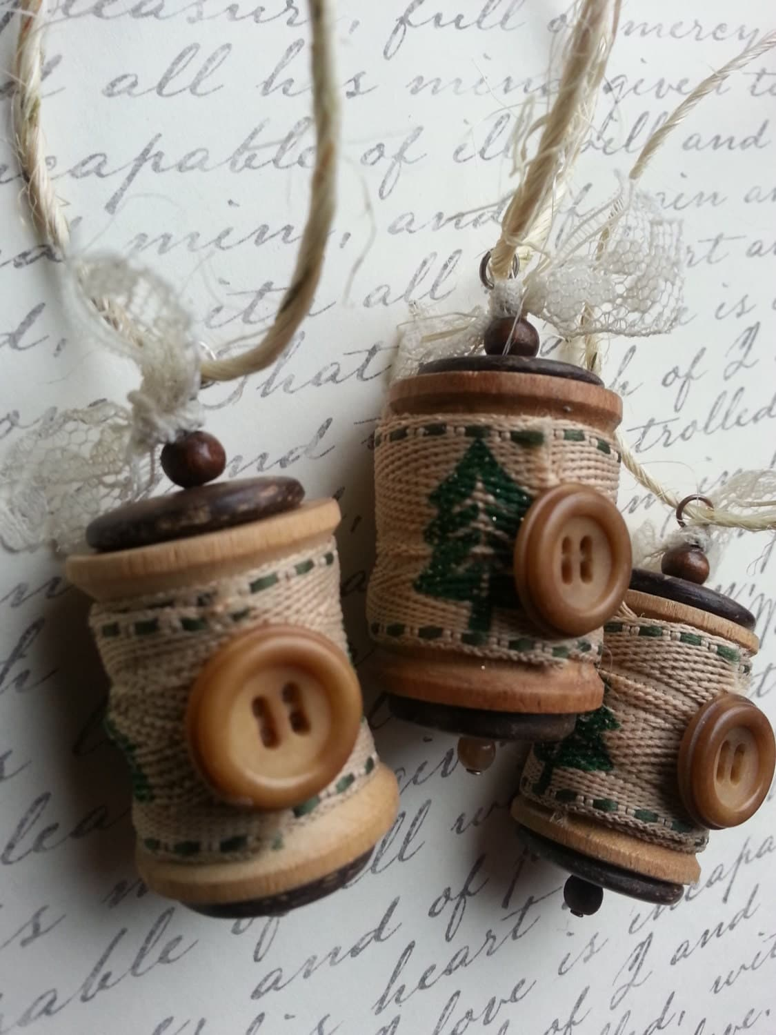 Christmas ornament vintage wooden spools with tree