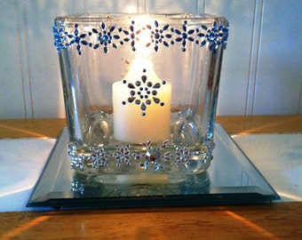 Snowflake, Winter Decor, Glass Votive Candle Holders, Battery Operated Candles, Gifts Under 20, Holiday Decor, My Blue Snowflake, Votives