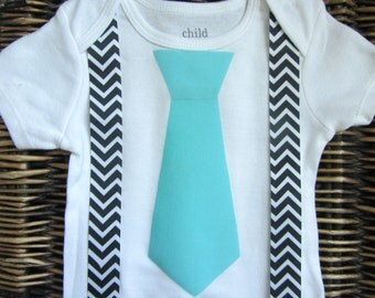 Baby Boy Clothes - Blue Tie Suspenders - Black Chevron Suspenders - Coming Home Outfit - Infant Tie Shirt - Boys First Birthday