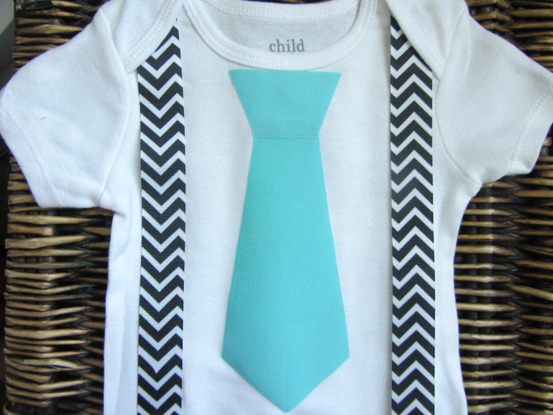 Baby Boy Clothes Blue Tie Suspenders Black Chevron