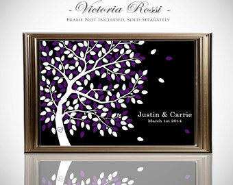 Wedding Tree Guest Book Poster // Guest Book Tree // Fits 55-300 Guests // Available In 16x20 or 24x36 Inches // Gallery Wrapped Canvas