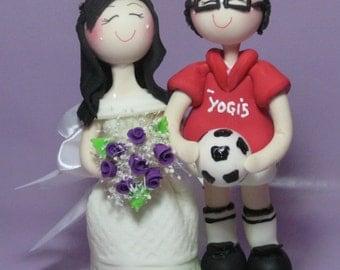 Soccer cake topper, custom wedding cake topper, sports wedding cake topper