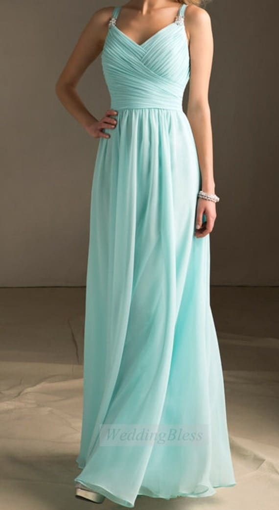 Tiffany Blue Bridesmaid Dress Long Dress with straps Chiffon A-line