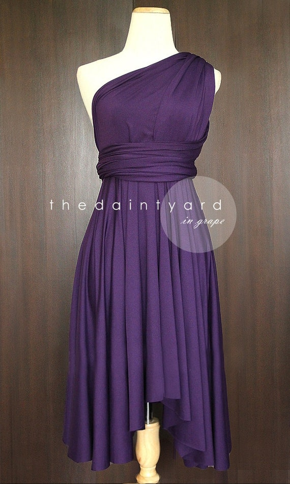 Grape Bridesmaid Convertible Dress Infinity Dress Multiway Dress Wrap Dress Royal Purple Dark Purple Deep Purple Knee Length Hi Low Hems