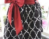 Women's skirt black moroccan lattice, garnet sash The Derby skirt custom made by Collyn Raye Perfect for game day