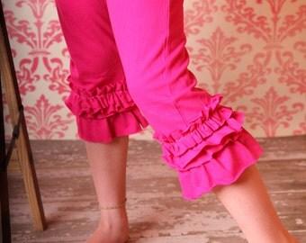 Girls ruffle leggings - Hot Pink Ruflle Tutu Leggings Super Cute and Comfy girls ruffle cotton leggings - Perfect for birthday, Photo Prop