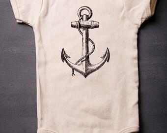 Boat Anchor - Nautical - Baby - American Apparel - Organic Cotton - Sailing - Screen Printed