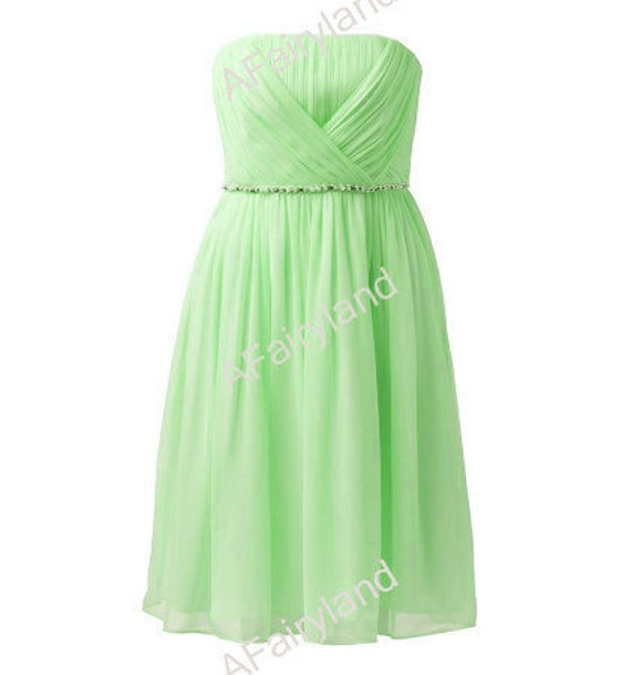 Lime green chiffon bridesmaid dress party dress with pleat in knee-length