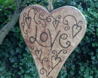 Solid Wood Hanging Heart Varnished