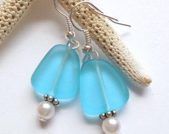 Turquoise Sea Glass Earrings,Sea Glass Jewelry,Seaglass Earrings,Seaglass Jewelry,Beach Glass Jewelry,Beach Glass Earrings,Beach.Free Ship.