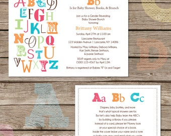Printable ABC Baby Shower Invitation and Book Card
