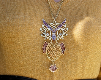 1970's Owl Necklace/ Gold Owl Necklace/ Jewel Owl Necklace/ Large Owl/ Gold Chain/ Hanging Jeweled Eyes