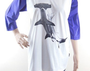 size L : Hammerhead Shark shirt animal tshirt shark tshirt women shirt baseball shirt raglan shirt long sleeve shirt