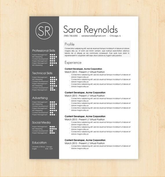 Photo Resume Templates Professional Cv Formats: Resume Template / CV Template The Sara Reynolds By PhDPress