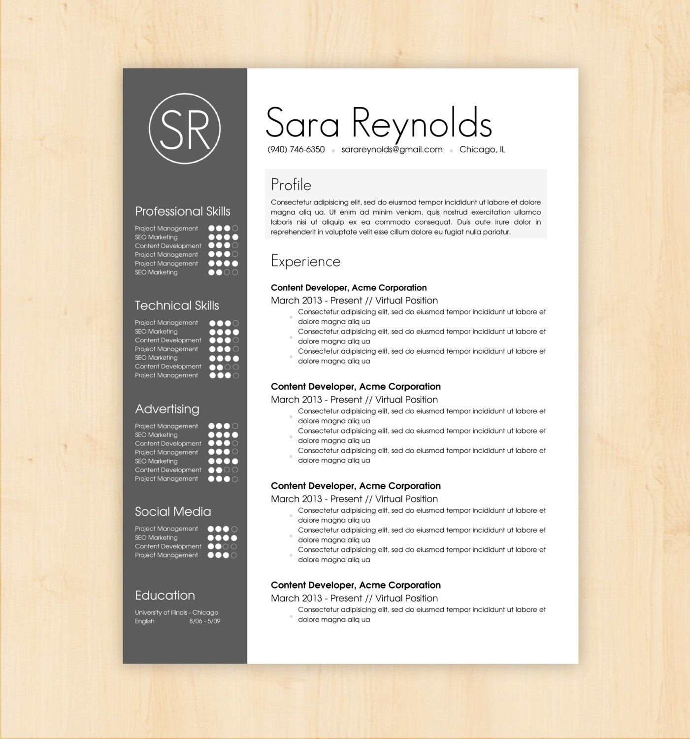 Professional Cv Resume Templates: Resume Template / CV Template The Sara Reynolds By PhDPress