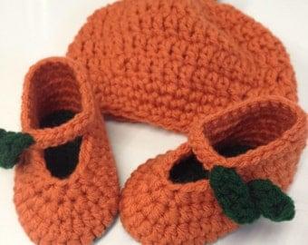 Handmade Crocheted Pumpkin Hat with Booties