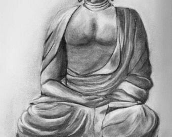 Original  Buddha black and white charcoal drawing