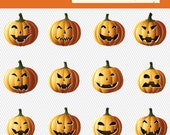 Halloween Pumpkin Clipart. Halloween Pumpkin Illustration. Halloween Clipart. Halloween Digital Image. Scary Pumpkin Clipart 034