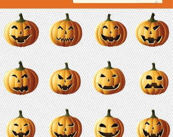 Items similar to Halloween Pumpkin Clipart. Spooky Pumpkin ...