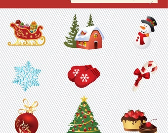 Christmas Clipart. Christmas Digital Clipart. Christmas Tree, Christmas Gift, Snowman.. Digital Images. Christmas Illustration 131