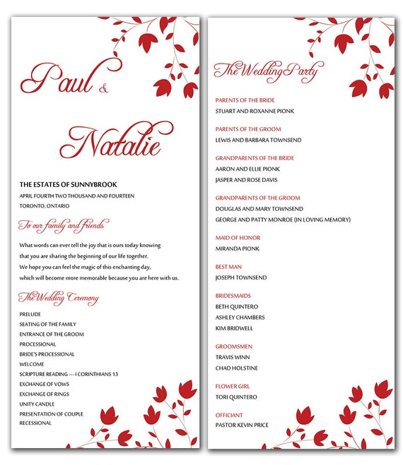 Free Printable Wedding Program Templates: Unavailable Listing On Etsy