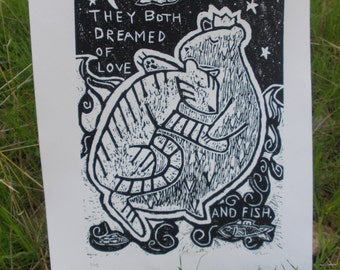 """6x8 """"They Both Dreamed of Love and Fish"""" Print"""