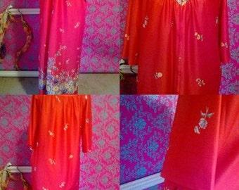 60s 70s 80s Vintage RED floral print Rob Lingerie sz M/L