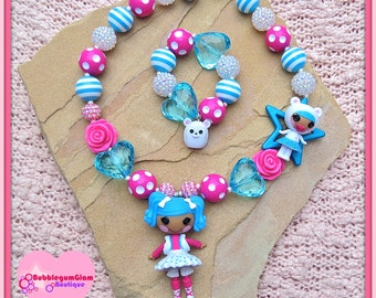 Lalaloopsy necklace, Mittens Fluff 'N' Stuff and Bundles Snuggle Stuff, Lalaloopsy sisters, chunky necklace bracelet set
