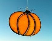 Fall Thanksgiving Pumpkin Autumn Stained Glass Tiffany Style Sun Catcher Pumpkin Ornament Gift Idea