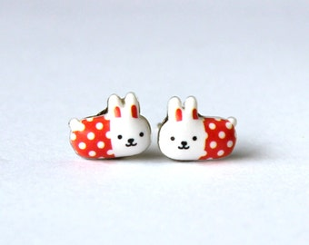 Bunny rabbit stud earrings - red and white polka dots - bunnies in fashion