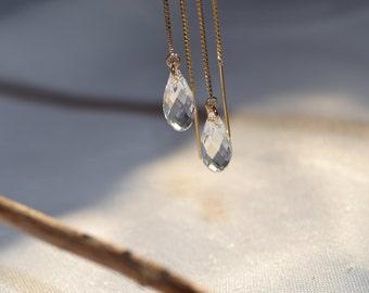 Clear Swarovski Crystal Gold-Filled Threader Earrings - Handmade Jewelry - Bridal Earrings - Bridesmaid Earrings - Minimal Jewelry