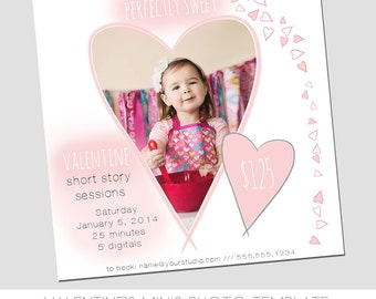 CLEARANCE Valentine's Day Mini Session Photography Template - Marketing Template - Sweet - Hearts - Pink