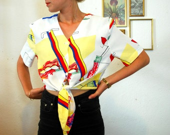 Vintage 80's Cool And Funky Knot Crop Top