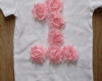 First Birthday Shirt, First Birthday Shirt, 3D Shabby Flower Birthday Shirt, Rosette Flower Shirt, First Birthday, Second Birthday