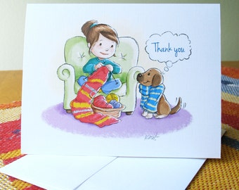 Knit with Dog Thank You card with envelope / blank inside / cute best friends original art by Kathe Keough