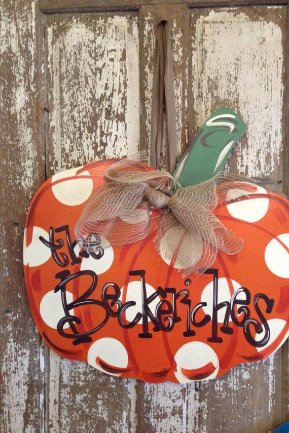 items similar to pumpkin door hanger  monogrammed pumpkin  fall pumpkin on etsy
