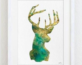 Emerald Green Deer Watercolor Print 5x7 Archival Print Deer Painting Deer Art Print