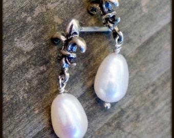 Pearl earrings, holiday gifts, bridal earrings, June birthstone earrings